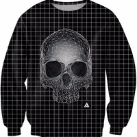 Spring New Fashion Clothing SQUARE SKULL Casual Sweatshirt Crewneck Long  Sleeve Womne Men Style Sport Jumper Tops Plus Size
