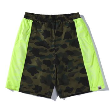 Bape Aape Summer Fashion New Letter Print Camouflage Women Men Shorts Green
