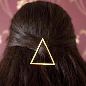 Vintage Punk Gold Plated Triangle Hair Clip Hairpin Hair Accessory