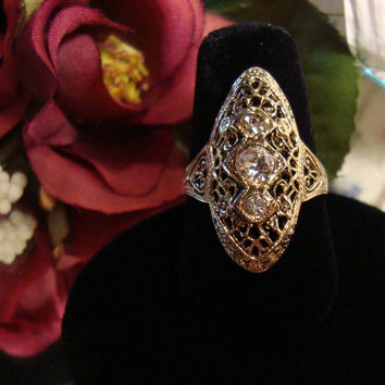 Vintage Jewelry Filigree Ring with Crystals on by DLSpecialties