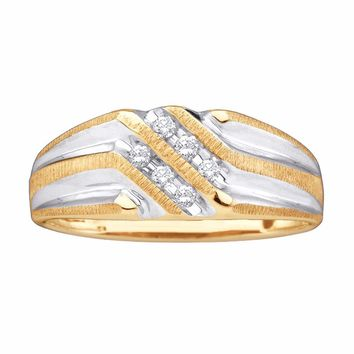 10kt Yellow Gold Mens Round Diamond Double Row Two-tone Ridged Wedding Band Ring 1/8 Cttw
