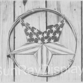 Barn Star Flag Original Drawing 8X11