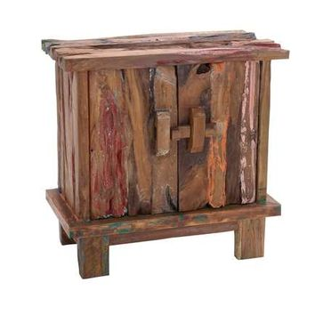 "Unique 36"" Wooden Rustic Cabinet with Durable Teak Wood"