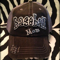 Custom School Team Baseball Mom Distressed  Bling Hat