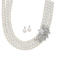 Glass Pearl and Crystal Fashion Necklace and Earring Set