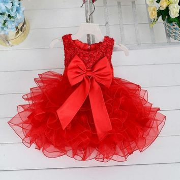 2016 Fluffy 3 Layer Flower Girl Dress Baby Girls Princess Lace Party Dress Sleeveless Wedding Pageant party costumes clothes