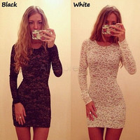 Sexy Women's Fashion Round-neck Long Sleeve Lace Mini One Piece Dress [6338823937]