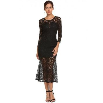 Long Sleeve Lace Overlay Solid Slim Dress