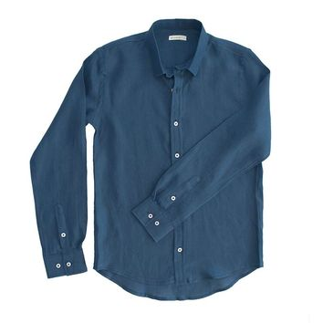 98 Coast Av Linen Shirt Navy