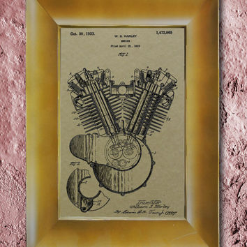 Harley Engine 1923 Patent Wall Art Poster