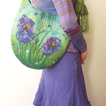 Felted Bag Felt Handbag Spring Flowers Wool bag Green Purple Floral Art Bag Spring bag Fiber Art Boho Art to wear Mother's Day Gift OOAK