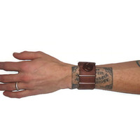 Unisex Brown Leather Cuff Snap Bracelet Accessory