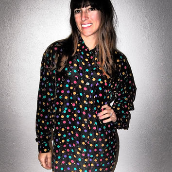 100% Silk Polka Dot Button Up Tunic - 1980s Vintage
