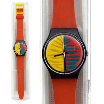 Vintage 80s Swatch Swiss Watch Waipitu GB113 Quartz Wristwatch Pop Art