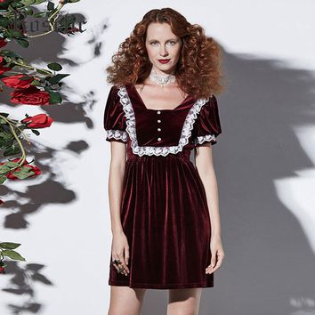 Gothic Mini Dress Women's Burgundy Vintage Retro Lolita Victorian Goth Short Dress