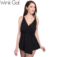 Wink Gal Trendy Summer Rompers Women Jumpsuits Fashion Backless Black Elegant Playsuit 3187
