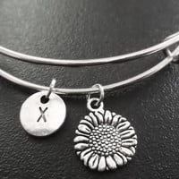 Small Sunflower Stainless Steel Expandable Bangle, monogram personalized item No.782