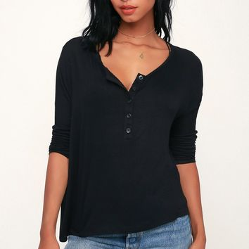 Greyson Black Long Dolman Sleeve Henley Top