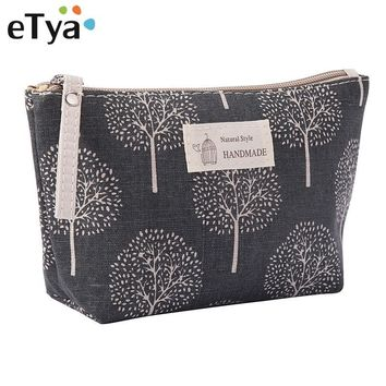 eTya Women Plaid Travel Cosmetic Bag Makeup Bag Handbag Female Zipper Purse Small Cosmetics Make Up Bags Travel Beauty Organizer