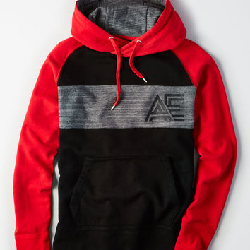 AE Colorblock Throwback Cotton Sweatshirt, Red