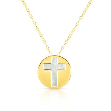 14K Yellow Gold Mother Of Pearl Cross Pendant Necklace, 16""