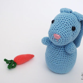 Bunny Crochet Bunny Stuffed Animal Gift Cute Plush Toy Bunny Kawaii Plushie Snuggly Cuddly Blue Rabbit