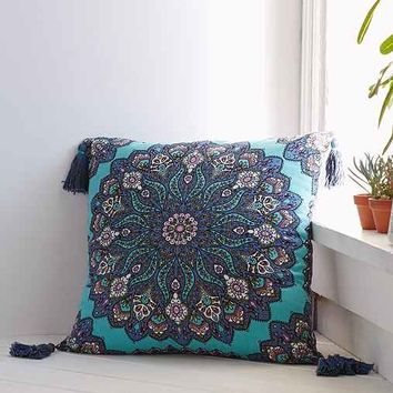 Plum & Bow Sitara Medallion Pillow - Turquoise 20in. Sq