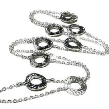 Hammered Silver Donut Bead Station Necklace Long Silver Chain Necklace Boho Chic Necklace Layering Necklace Slimming Necklace