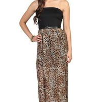 strapless maxi dress with cheetah print carwash hem with belted waist - 91000049439 - debshops.com