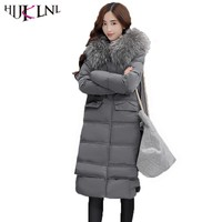 HIJKLNL Long Feather Down Jacket Coat With Fur Collar 2017 Winter Women Hooded Duck Down Puffer Jacket Parka camperas NA248