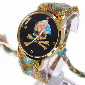 Rainbow Geneva Watch Women Pirate Flag Skull Bones Black Dial wristwatch Lace Chain Braid Reloj Girl Teen vintage Fabric Ethnic