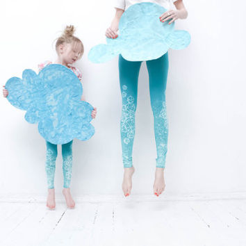 Mint skies-  kids leggings