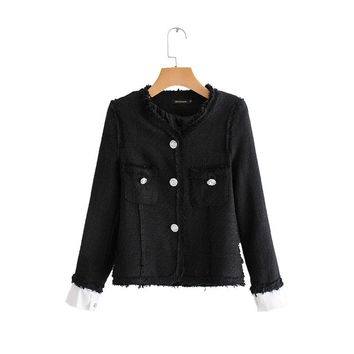 WT102 Women black color rough edge sleeve patchwork tweed coat chic ladies slim waist o neck jackets fall outwear coat