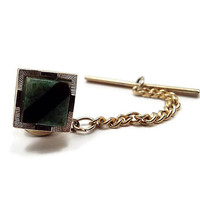Vintage Tie Tack, Anson 12K GF, Inlaid Onyx and Moss Agate, 12 K Gold Filled, Square Tie Tack, Mid Century 1960s 60s, Gift for Him