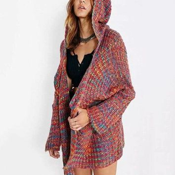 Colorful Oversize Thick Knitted Hooded Cardigan