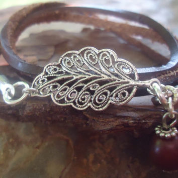 filigree LEAF in BROWN  LEATHER Strap & seed 323