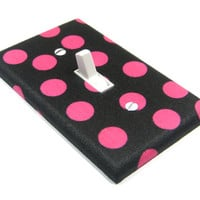 Hot Pink and Black Polka Dots Light Switch Cover Teen Girls Bedroom Decor Switchplate 1379