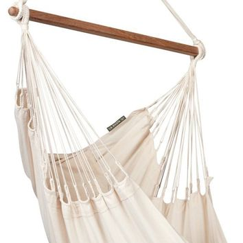 LA SIESTA Modesta High Comfort and Rip Proof Hammock Chair with Spreader Bars, Ecru