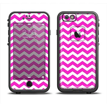 The Pink & White Chevron Pattern Apple iPhone 6 LifeProof Fre Case Skin Set
