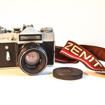 Free Shipping - Zenit-E Vintage Photo 35mm Camera Set - Original Camera Strap - Pentacon Camera Lens - Shutter release cable - WORKING