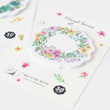 1pc Japanese Style Wreath Memo Pad N Times Post It Sticky Notes Bookmark School Office Supply Escolar Papelaria Stationery Paper