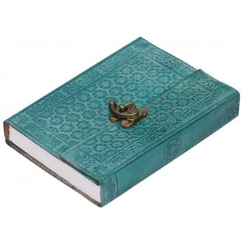 Colorful Thoughts - Writing Journal / Notebook / Sketchbook With Handmade Paper & Leather Cover in Turquoise / Purple Color