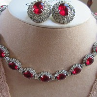 Vintage Kramer Ruby and Diamond Rhinestone Necklace and Clip On Earrings
