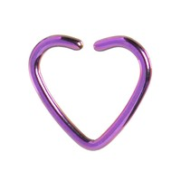 Purple Titanium Hollow Heart Closure Daith CartilageTragus Earring