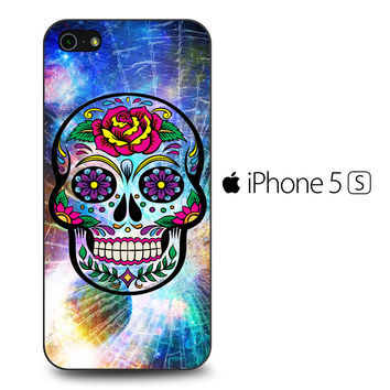 Sugar Skull Colorful Crack Out iPhone 5S Case