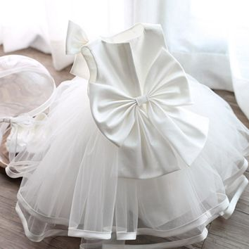 New TUTU Style Big Bow Dress For Kids Girl Wedding Sleevelss Christening Party Clothes Dresses Infant Girls White