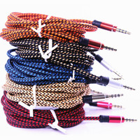 New Arrival Universal Braided Audio Auxiliary Cable 1m 3.5mm Wave AUX Extension Male to Male Stereo Car Nylon Cord Jack