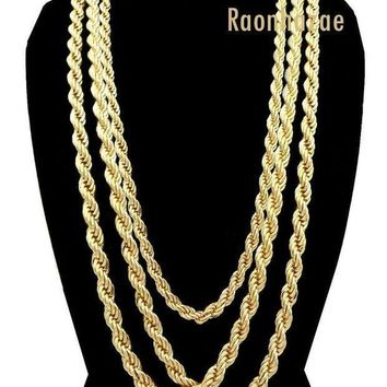 Men Stainless Steel 14k Gold Plated 3 To7mm Wide 20' 24' 30' Rope Chain Necklace