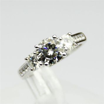 9KT White Gold Colorless 1CT Center Lab Grown Diamond  Natural 0.3ct Side Diamonds Wedding Ring