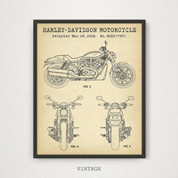 Harley Davidson Motorcycle Blueprint Art, Motorcycle Patent Art, Motorbike Diagram, Gift For Him, Motorcycle Poster, Digital Download Print
